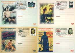 956  Cinéma, Johnny Weissmüller: 4 Entiers (c.p.) Avec Oblit. Temp. 2004 - Tarzan, Film Actor Stationery Postcards - Cinema