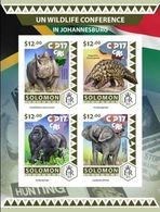 Salomon 2016, UN Conference, Rhino, Elephant, Gorilla, 4val In BF IMPERFORATED - Rinocerontes