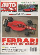 Auto Hebdo 1991 Ayrton Senna Bernard Dudot Jean Alesi Ferrari Bernard Darniche Alain Cudini - Sport
