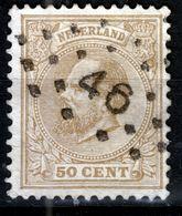 NEDERLAND   1872  50 C   PUNTSTEMPEL  46 - Used Stamps