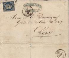YT 4 Cérès 25ct Bleu Pour Lyon Oblitération PC 3710 CAD Alger Algérie 8 3 1853 Brasserie Kolb ? Alger - 1849-1876: Classic Period