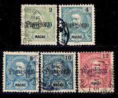"! ! Macau - 1902 King Carlos OVP ""Provisorio"" (Complete Set)  - Af. 124 To 128 - Used - Macao"