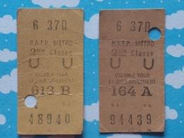 2 Tickets Du Metro De Paris - Metro