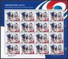 South Korea 2020 Korean Sport And Olympic Committee 100th Anniversary, Baseball, Soft Tennis, Soccer, Full Sheet - Corée Du Sud