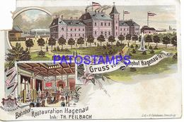 136725 GERMANY GRUSS AUS HAGENAU RESTORATION STATION TRAIN MULTI VIEW DAMAGED  POSTAL POSTCARD - Allemagne