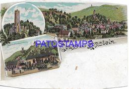 136726 GERMANY GRUSS AUS EPPSTEIN RESTORATION STATION TRAIN MULTI VIEW CUT EDGE DAMAGED  POSTAL POSTCARD - Allemagne