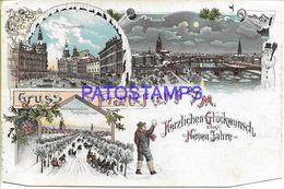 136727 GERMANY GRUSS AUS FRANKFURT ART SLED BRIDGE & AVENUE MULTI VIEW CUT EDGE DAMAGED  POSTAL POSTCARD - Allemagne