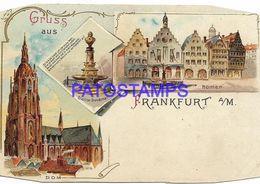 136728 GERMANY GRUSS AUS FRANKFURT ART MULTI VIEW CUT EDGE DAMAGED  POSTAL POSTCARD - Allemagne