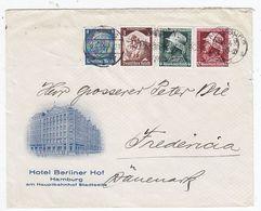 Deutsches Reich Brief Mit MIF Vom Hotel Berliner Hof Hamburg Nach Dänemark - Lettres & Documents