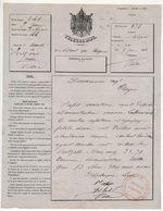 """Télégramme Formule 324 (AIGLE) 1864 Cachet Rouge """"Administration Télégraphique Station D'Angers"""" - Telegramas Y Teléfonos"""