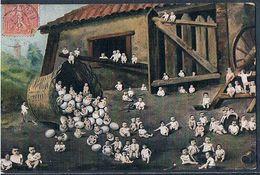 D024 SURREALISME FANTASY Bébés MULTIPLES MULTI BABIES POULAILLER OEUFS PHOTOMONTAGE Pc - Babies
