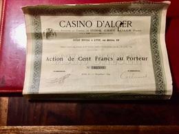 S.A.  CASINO  D' ALGER ------------Action  De 100 Frs - Casino