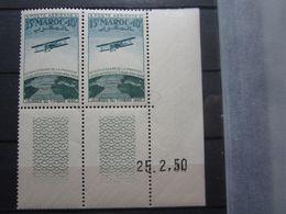 VEND BEAUX TIMBRES DE POSTE AERIENNE DU MAROC N° 74 EN PAIRE + BDF +CD , XX !!! - Maroc (1891-1956)