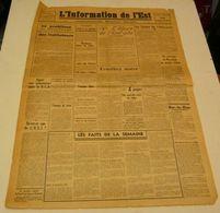 L'information De L'Est Du 24 Septembre 1943.(Montluçon-Chartres-Nantes-Rouen) - Français