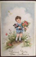 Cpa, Bonne Fête, Illustration Petit Garçon Avec Son Chat Et Un Bouquet De Fleurs, éd Coloprint Spécial, écrite - Altri