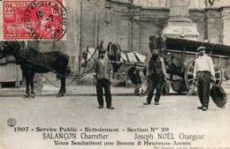 1907 - Service Public, Nettoiement, Section N° 29 (Salançon Charretier, Noël Chargeur) Vous Souhaitent Bonne Année - Artigianato Di Parigi