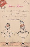 Carte Illustrateur Bonne Année 1908 Pierrot Et Colombine - Vienne
