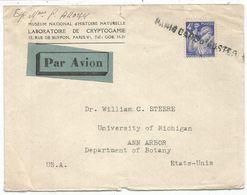 IRIS 4FR SEUL LETTRE  AVION ANNUALTION GRIFFE PARIS GARE AUSTERLITZ POUR USA - 1939-44 Iris