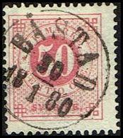 1877. Circle Type. Perf. 13. 50 øre Carmine BÅSTAD 30 1 1880. (Michel 25B) - JF362586 - Oblitérés