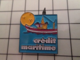 415a Pin's Pins / Rare & Belle Qualité !!! THEME : BANQUES / CREDIT MARITIME SOLEIL CHALUTIER  PHARE - Banche