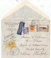 GANDON 5FR VIOLET  + BLASON 1FR+ 30FR VOUGEOT LETTRE AVION AO DIJON 22.4.1952 POUR USA AU TARIF - 1941-66 Escudos Y Blasones