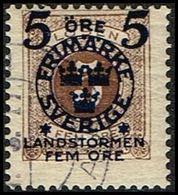 1916. Landstorm II. 5+Fem Öre On 5 Ö. Dark Brown.  (Michel 99) - JF362864 - Oblitérés