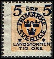 1916. Landstorm II. 5+Tio Öre On 6 Ö. Yellow.  (Michel 100) - JF362865 - Oblitérés