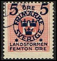 1916. Landstorm II. 5+Femton Öre On 12 Ö. Pale Red. (Michel 101) - JF362867 - Oblitérés