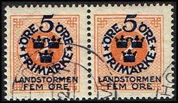 1916. Landstorm I. 5+Fem Öre On 2 ö Orange Wmk Wavy Lines.  (Michel 86) - JF362869 - Oblitérés