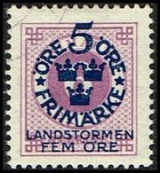 1916. Landstorm I. 5+Fem Öre On 6 ö. Lilac Wmk Wavy Lines. (Michel 90) - JF362871 - Oblitérés