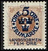 1916. Landstorm I. 5+Fem Öre On 3 ö Yellow Brown Wmk Wavy Lines + KPK (Michel 87) - JF362872 - Oblitérés
