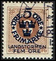 1916. Landstorm I. 5+Fem Öre On 3 ö Yellow Brown Wmk Wavy Lines  (Michel 87) - JF362879 - Oblitérés
