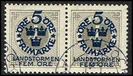 1916. Landstorm I. 5+Fem Öre On 4 ö. Gray Wmk Wavy Lines. PAIR (Michel 88) - JF362881 - Oblitérés