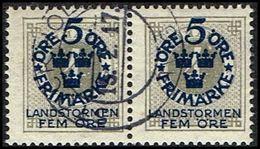 1916. Landstorm I. 5+Fem Öre On 4 ö. Gray Wmk Wavy Lines. PAIR (Michel 88) - JF362882 - Oblitérés