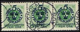 1916. Landstorm I. 5+Fem Öre On 5 ö Green 3-STRIPE (Michel 89) - JF362883 - Oblitérés