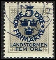 1916. Landstorm I. 5+Fem Öre On 4 ö. Gray Wmk Wavy Lines (Michel 88) - JF362884 - Oblitérés