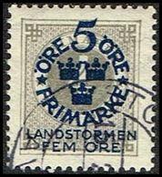 1916. Landstorm I. 5+Fem Öre On 4 ö. Gray Wmk Wavy Lines (Michel 88) - JF362885 - Oblitérés