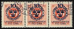 1916. Landstorm I. 10+Tio Öre On 20 ö. Red Orange Wmk Wavy Lines. 3-STRIPE (Michel 92) - JF362887 - Oblitérés