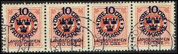 1916. Landstorm I. 10+Tio Öre On 20 ö. Red Orange Wmk Wavy Lines. 4-STRIPE (Michel 92) - JF362888 - Oblitérés