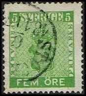 1858. Coat Of Arms 5 öre Yellow Green.  (Michel 7b) - JF362893 - Oblitérés