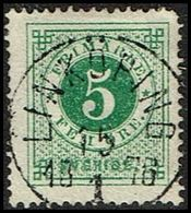 1872. Circle Type. Perf. 14. 5 øre Blue Green. LINKÖPING 15 1 1876. LUXUS (Michel 19A) - JF362894 - Oblitérés