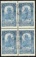 1903. General Post Office. 5 Kr. Blue. 4-BLOCK STOCKHOLM 14. 12. 17. (Michel 54) - JF362901 - Oblitérés