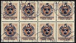 1916. Landstorm I. 5+Fem Öre On 3 ö Yellow Brown Wmk Wavy Lines. 8-block. (Michel 87) - JF362906 - Oblitérés
