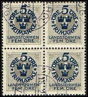 1916. Landstorm I. 5+Fem Öre On 4 ö. Gray Wmk Wavy Lines. 4-block. (Michel 88) - JF362907 - Oblitérés