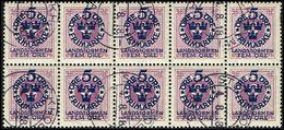 1916. Landstorm I. 5+Fem Öre On 6 ö. Lilac Wmk Wavy Lines. 10-block. (Michel 90) - JF362908 - Oblitérés