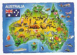 Map Of Australia Carte De L'Australie Animaux Fleurs Fruits En 1982 VOIR DOS Et TIMBRE Oiseau Bird - Australia
