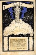 Artiste Cp Glückwunsch Neujahr, Kriegsjahr 1917, Gedicht Karl Conrad Mack - New Year