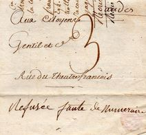 """L.A.C. De PARIS,8 Thermidor An 4 """"refusée Faute De Numéraire"""" - Marcophilie (Lettres)"""
