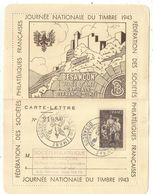 N°585 LETTRE CARTE LETTRE JOURNEE DU TIMBRE BESANCON DOUBS 10 OCT 1943 - Postmark Collection (Covers)