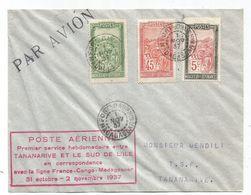MADAGASCAR 45C+15C+5C LETTRE AVION FORT DAUPHIN 1 NOV 1937 POUR TANANARIVE GRIFFE PREMIER SERVICE HEBDOMADAIRE - Briefe U. Dokumente